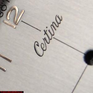 Esfera restaurada. Macro de marca Certina.