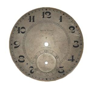 Esfera de reloj de bolsillo movado antes de su restauración