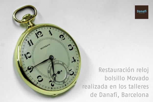 Restauración de reloj de bolsillo realizada en los talleres de reojería Danafi, Barcelona