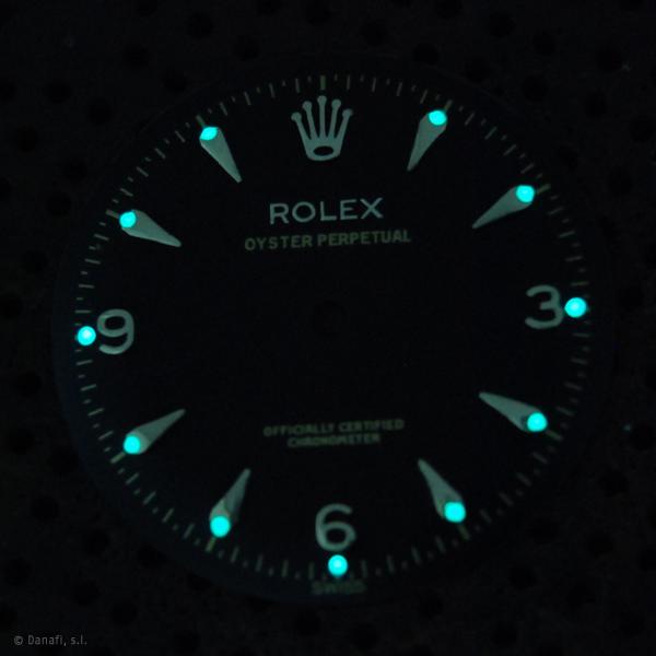 Rolex Oyester Perpetaul restauracion esfera de reloj y relumado superluminova